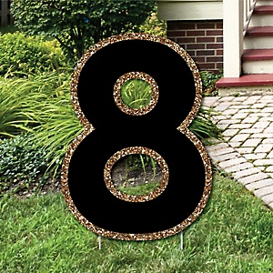 "Yard Number 8 - Black and Gold - 15.5"" Number Outdoor Lawn Party Decoration - Number 8"