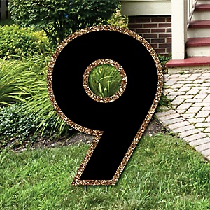 "Yard Number 9 - Black and Gold - 15.5"" Number Outdoor Lawn Party Decoration - Number 9"