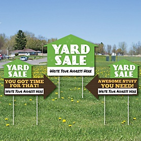 Yard Sale Signs - Yard Sign with Stakes - Double Sided Outdoor Lawn Sign - Set of 3
