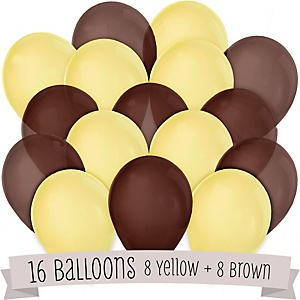 Brown and Yellow - Baby Shower Latex Balloons - 16 ct