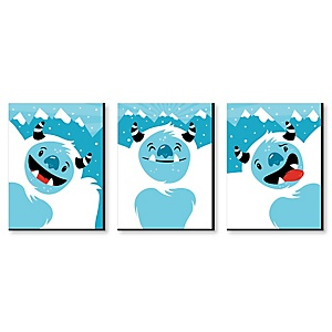 Yeti to Party - Mountain Nursery Wall Art and Abominable Snowman Kids Room Decor - 7.5 x 10 inches - Set of 3 Prints