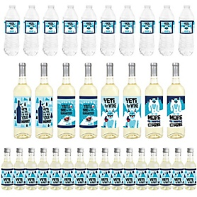 Yeti to Party - Mini Wine Bottle Labels, Wine Bottle Labels and Water Bottle Labels - Abominable Snowman Party or Birthday Party Decorations - Beverage Bar Kit - 34 Pieces