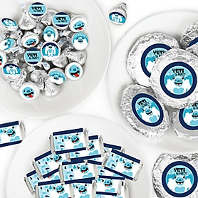 Yeti to Party - Mini Candy Bar Wrappers, Round Candy Stickers and Circle Stickers - Abominable Snowman Party or Birthday Party Candy Favor Sticker Kit - 304 Pieces