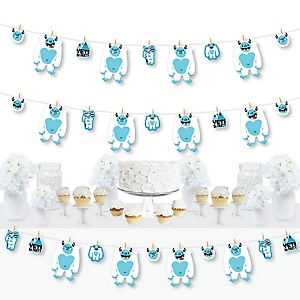 Yeti to Party - Abominable Snowman Party or Birthday Party DIY Decorations - Clothespin Garland Banner - 44 Pieces