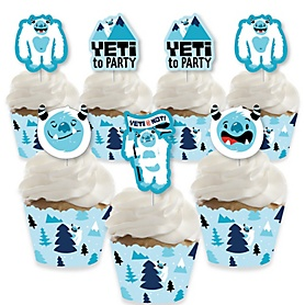 Yeti to Party - Cupcake Decoration - Abominable Snowman Party or Birthday Party Cupcake Wrappers and Treat Picks Kit - Set of 24
