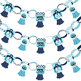 Yeti to Party - 90 Chain Links and 30 Paper Tassels Decoration Kit - Abominable Snowman Party or Birthday Party Paper Chains Garland - 21 feet