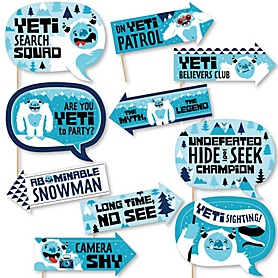 Funny Yeti to Party - 10 Piece Abominable Snowman Party or Birthday Party Photo Booth Props Kit