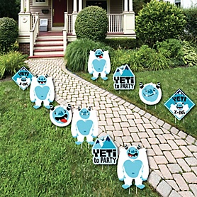 Yeti to Party - Lawn Decorations - Outdoor Abominable Snowman Party or Birthday Party Yard Decorations - 10 Piece