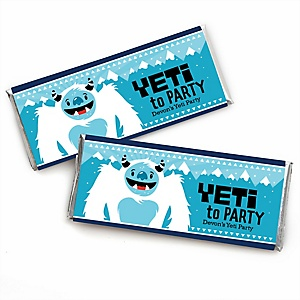 Yeti to Party - Personalized Candy Bar Wrapper Abominable Snowman Party or Birthday Party Favors - Set of 24