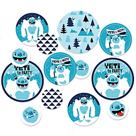 Yeti to Party - Abominable Snowman Party or Birthday Party Giant Circle Confetti - Party Decorations - Large Confetti 27 Count