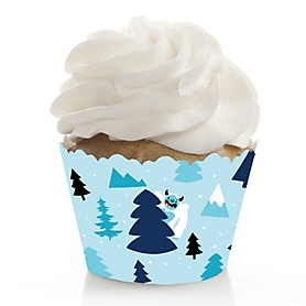 Yeti to Party - Abominable Snowman Party or Birthday Party Decorations - Party Cupcake Wrappers - Set of 12