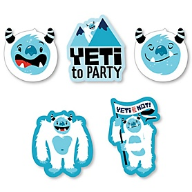 Yeti to Party - DIY Shaped Abominable Snowman Party or Birthday Party Cut-Outs - 24 ct