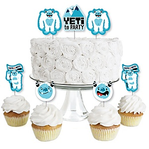 Yeti to Party - Dessert Cupcake Toppers - Abominable Snowman Party or Birthday Party Clear Treat Picks - Set of 24