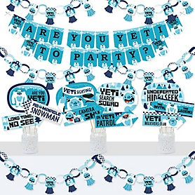 Yeti to Party - Banner and Photo Booth Decorations - Abominable Snowman Party or Birthday Party Supplies Kit - Doterrific Bundle