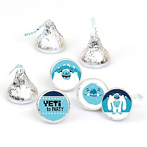 Yeti to Party - Abominable Snowman Party or Birthday Party Round Candy Sticker Favors - Labels Fit Hershey's Kisses - 108 ct