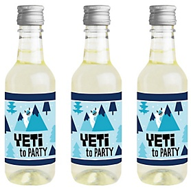 Yeti to Party - Mini Wine and Champagne Bottle Label Stickers - Abominable Snowman Party or Birthday Party Favor Gift - For Women and Men - Set of 16