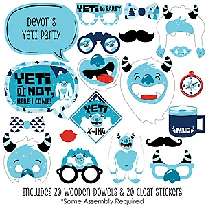 Yeti to Party - 20 Piece Abominable Snowman Party or Birthday Party Photo Booth Props Kit