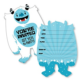 Yeti to Party - Shaped Fill-In Invitations - Abominable Snowman Party or Birthday Party Invitation Cards with Envelopes - Set of 12