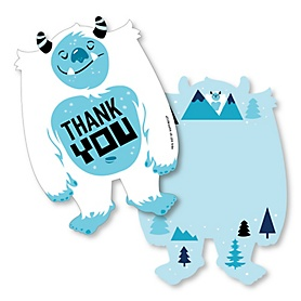 Yeti to Party - Shaped Thank You Cards - Abominable Snowman Party or Birthday Party Thank You Note Cards with Envelopes - Set of 12