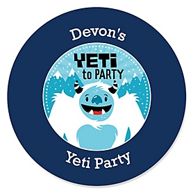 Yeti to Party - Personalized Abominable Snowman Party or Birthday Party Sticker Labels - 24 ct