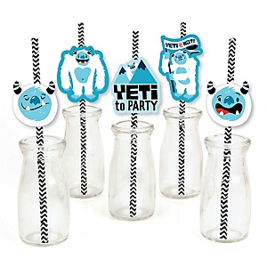 Yeti to Party - Paper Straw Decor - Abominable Snowman Party or Birthday Party Striped Decorative Straws - Set of 24