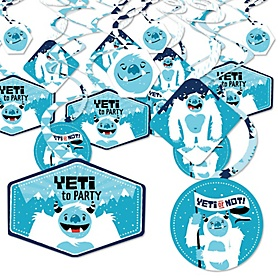 Yeti to Party - Abominable Snowman Party or Birthday Party Hanging Decor - Party Decoration Swirls - Set of 40