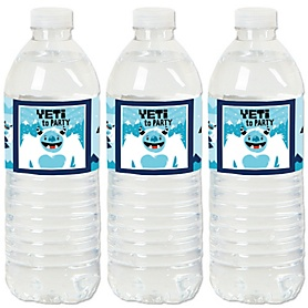 Yeti to Party - Abominable Snowman Party or Birthday Party Water Bottle Sticker Labels - Set of 20