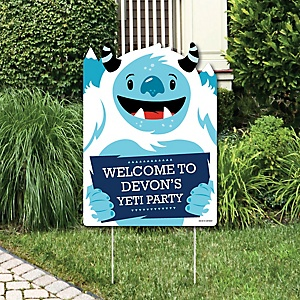 Yeti to Party - Party Decorations - Abominable Snowman Party or Birthday Party Personalized Welcome Yard Sign