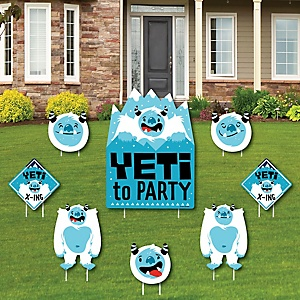 Yeti to Party - Yard Sign & Outdoor Lawn Decorations - Abominable Snowman Party or Birthday Party Yard Signs - Set of 8