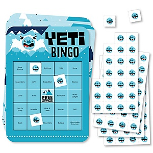 Yeti to Party - Bar Bingo Cards and Markers - Abominable Snowman Party or Birthday Party Bingo Game - Set of 18