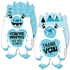 Yeti to Party - 20 Shaped Fill-In Invitations and 20 Shaped Thank You Cards Kit - Abominable Snowman Party or Birthday Party Stationery Kit - 40 Pack