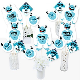 Yeti to Party - Abominable Snowman Party or Birthday Party Centerpiece Sticks - Table Toppers - Set of 15