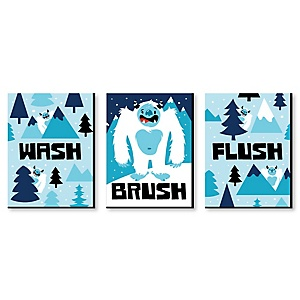 Yeti to Party - Kids Bathroom Rules Wall Art - 7.5 x 10 inches - Set of 3 Signs - Wash, Brush, Flush