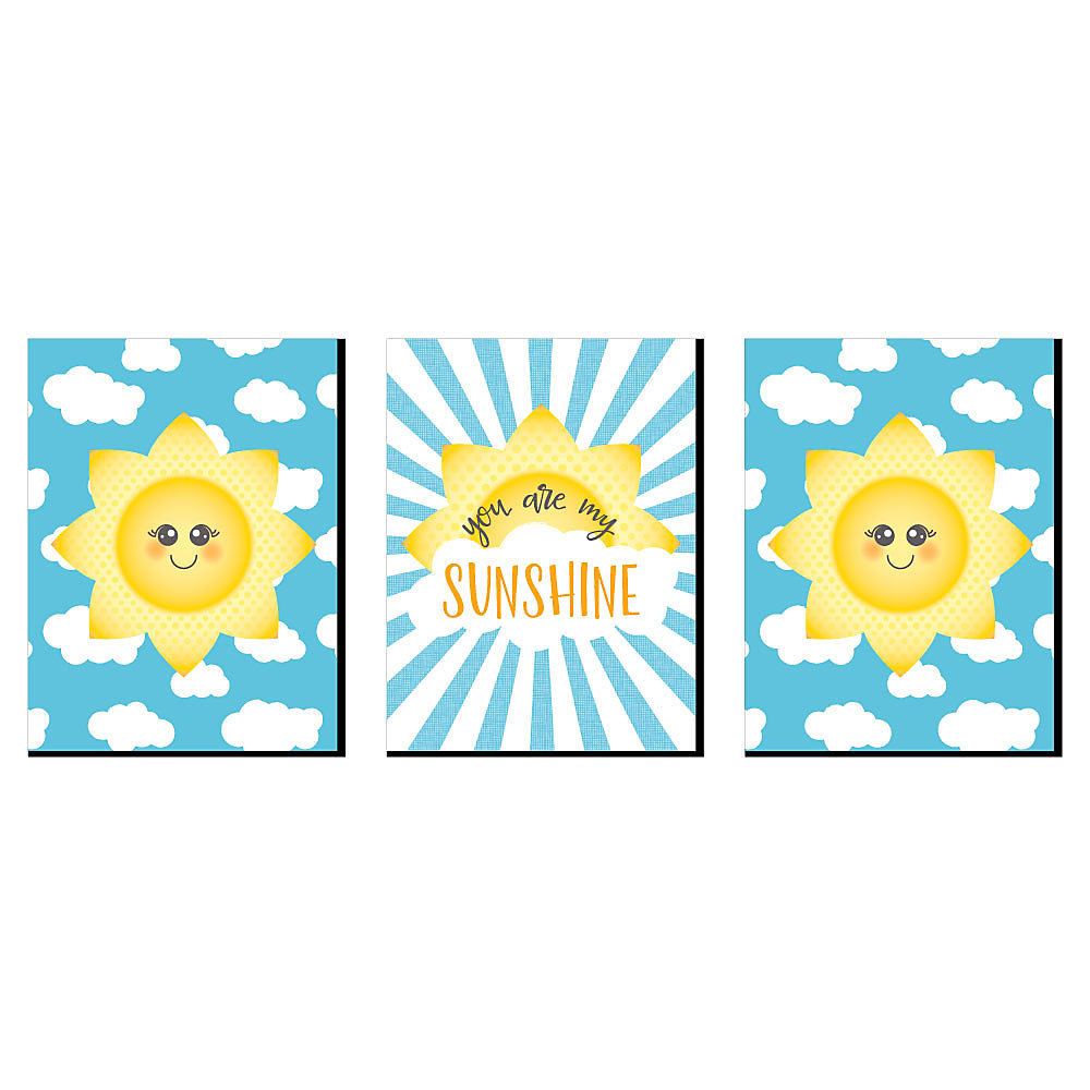 You Are My Sunshine Nursery Wall Art Kids Room Decor And Home Decorations 7 5 X 10 Inches Set Of 3 Prints