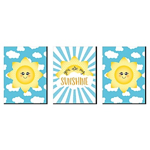 "You Are My Sunshine - Nursery Wall Art, Kids Room Décor and Home Decorations - 7.5"" x 10"" - Set of 3 Prints"