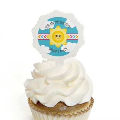 Beautiful You Are My Sunshine   12 Cupcake Picks U0026 24 Personalized Stickers   Baby  Shower Or Birthday Party Cupcake Toppers