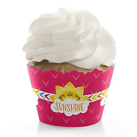 You Are My Sunshine - Baby Shower or Birthday Decorations - Party Cupcake Wrappers - Set of 12