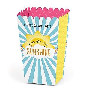 You Are My Sunshine - Personalized Baby Shower or Birthday Party Popcorn Favor Treat Boxes - Set of 12