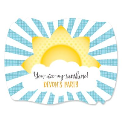 You Are My Sunshine   Personalized Baby Shower Or Birthday Party Squiggle  Stickers   16 Ct