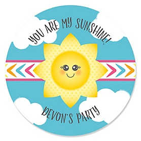 You Are My Sunshine - Personalized Baby Shower or Birthday Party Sticker Labels - 24 ct