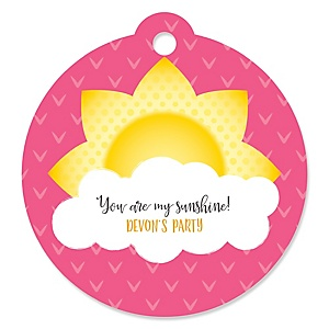 You Are My Sunshine - Round Personalized Baby Shower or Birthday Party Tags - 20 ct
