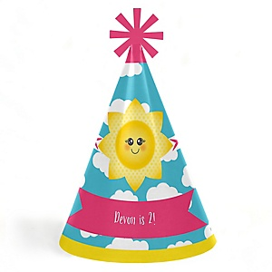 You Are My Sunshine - Personalized Cone Happy Birthday Party Hats for Kids and Adults - Set of 8 (Standard Size)