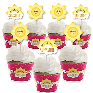 You Are My Sunshine - Cupcake Decoration - Baby Shower or Tennis Ball Birthday Party Cupcake Wrappers and Treat Picks Kit - Set of 24