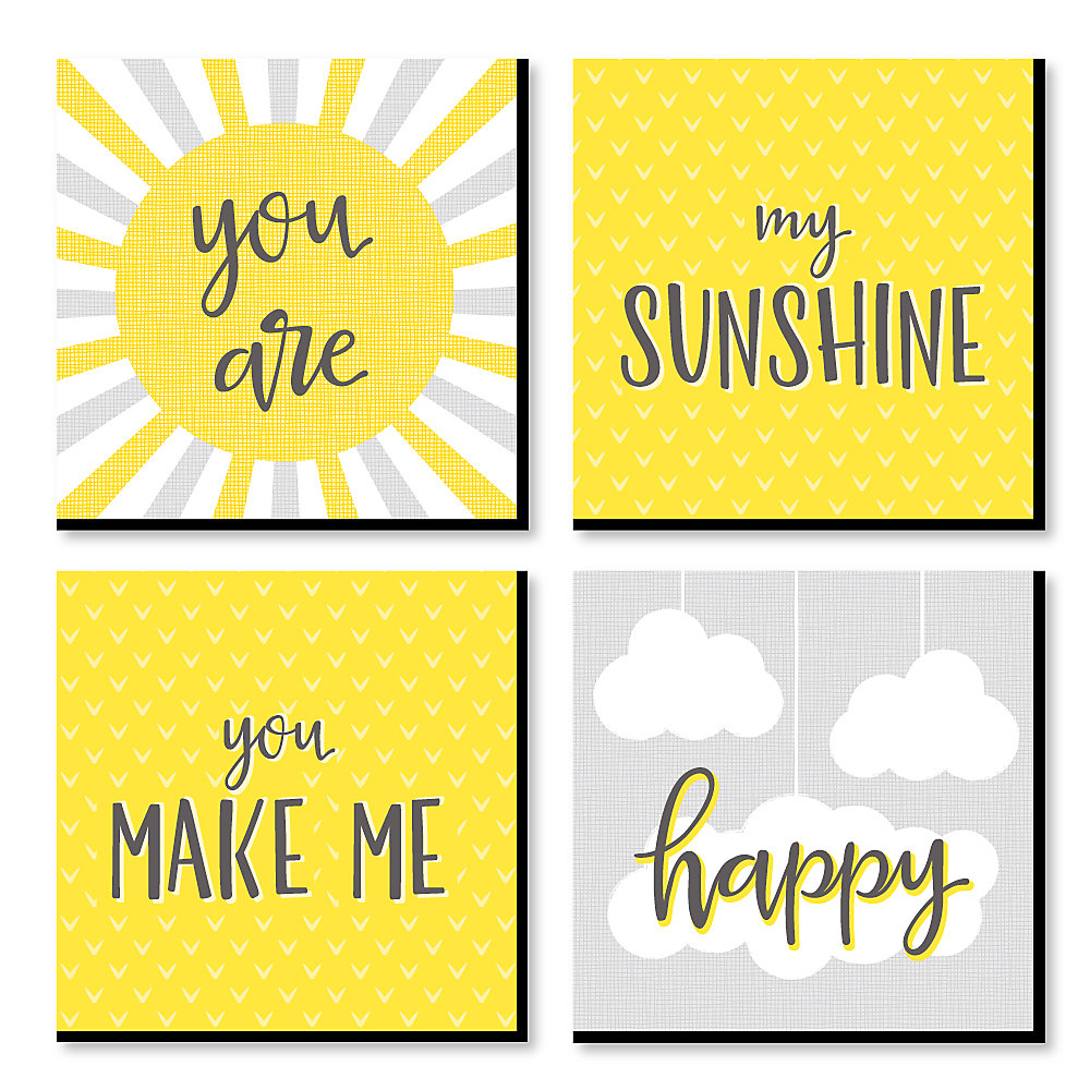 You Are My Sunshine Kids Room Nursery Home Decor 11 X Inches Wall Art Baby Shower Gift Ideas Set Of 4 Prints For S