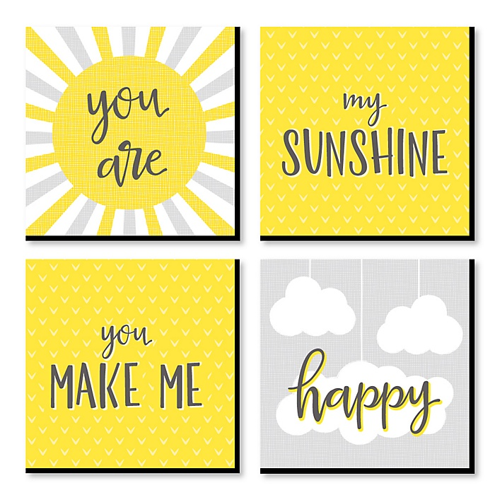 You Are My Sunshine - Kids Room, Nursery & Home Decor - 11 x 11 inches Kids Wall Art - Baby Shower Gift Ideas - Set of 4 Prints for Baby's Room