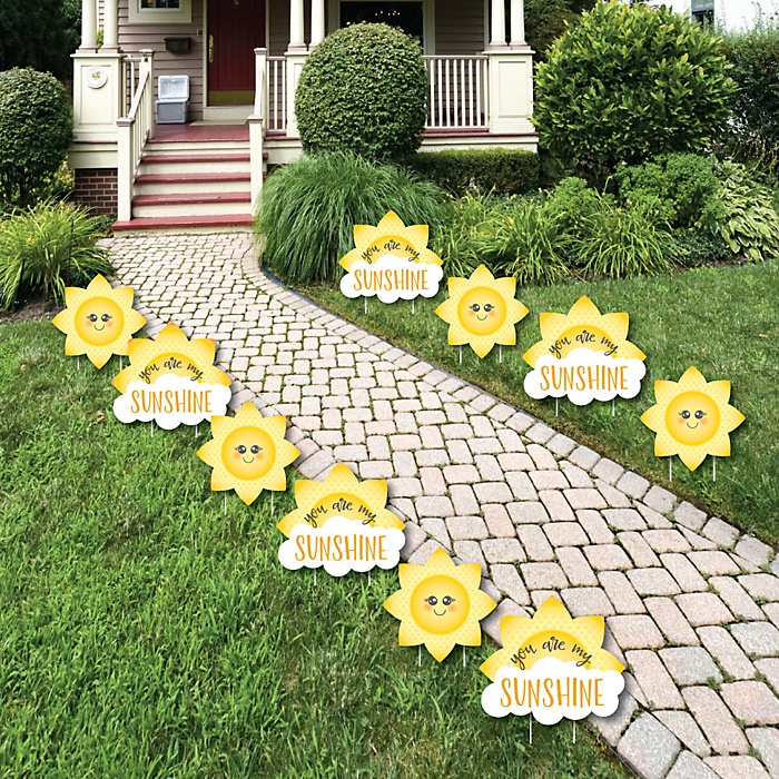 You Are My Sunshine - Sun and Cloud Lawn Decorations - Outdoor Baby Shower or Birthday Party Yard Decorations - 10 Piece