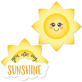 You Are My Sunshine - DIY Shaped Baby Shower or Birthday Party Paper Cut-Outs - 24 ct