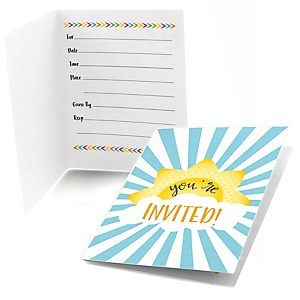 You Are My Sunshine - Baby Shower or Birthday Party Fill In Invitations - 8 ct