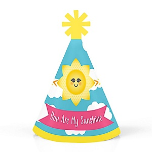 You Are My Sunshine - Personalized Mini Cone Baby Shower or Birthday Party Hats - Small Little Party Hats - Set of 10