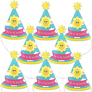 You Are My Sunshine - Mini Cone Baby Shower or Birthday Party Hats - Small Little Party Hats - Set of 8